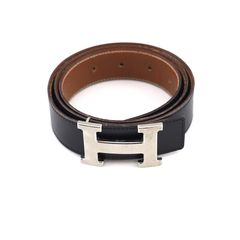 Hermès, black box, calfskin leather, reversible belt, brown Togo leather underside