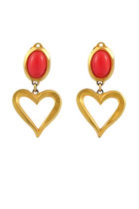 Authentic Vintage Christian Lacroix Coral Heart Clip Earrings (TFC-203-00005)