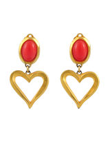 Christian Lacroix, coral heart, clip earrings