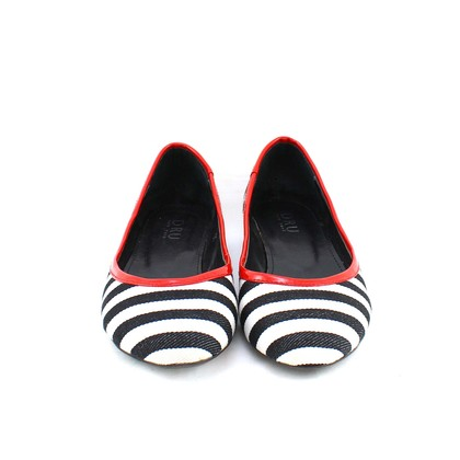 Authentic Second Hand Dru Nautical Striped Flats (PSS-003-00011)