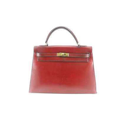 Authentic Vintage Hermès 1954 32cm Burgundy Leather Kelly Bag (TFC-102-00001)
