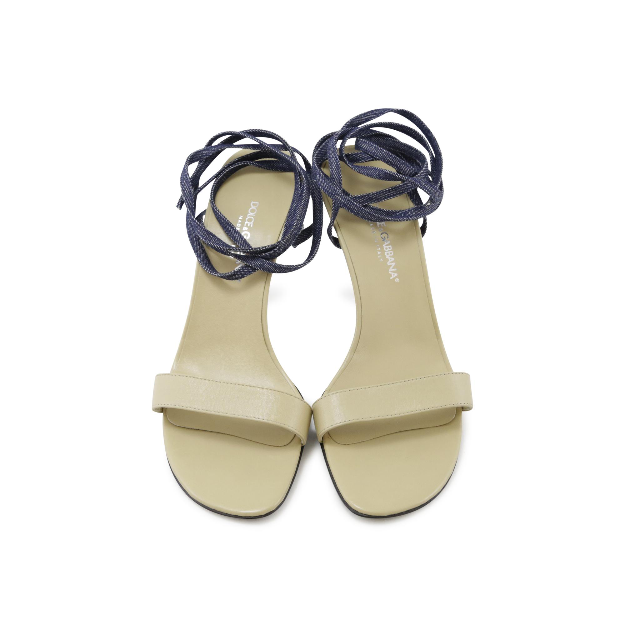 e6d8177e7c8e Authentic Second Hand Dolce   Gabbana Denim Strappy Sandals (PSS-027-00009)