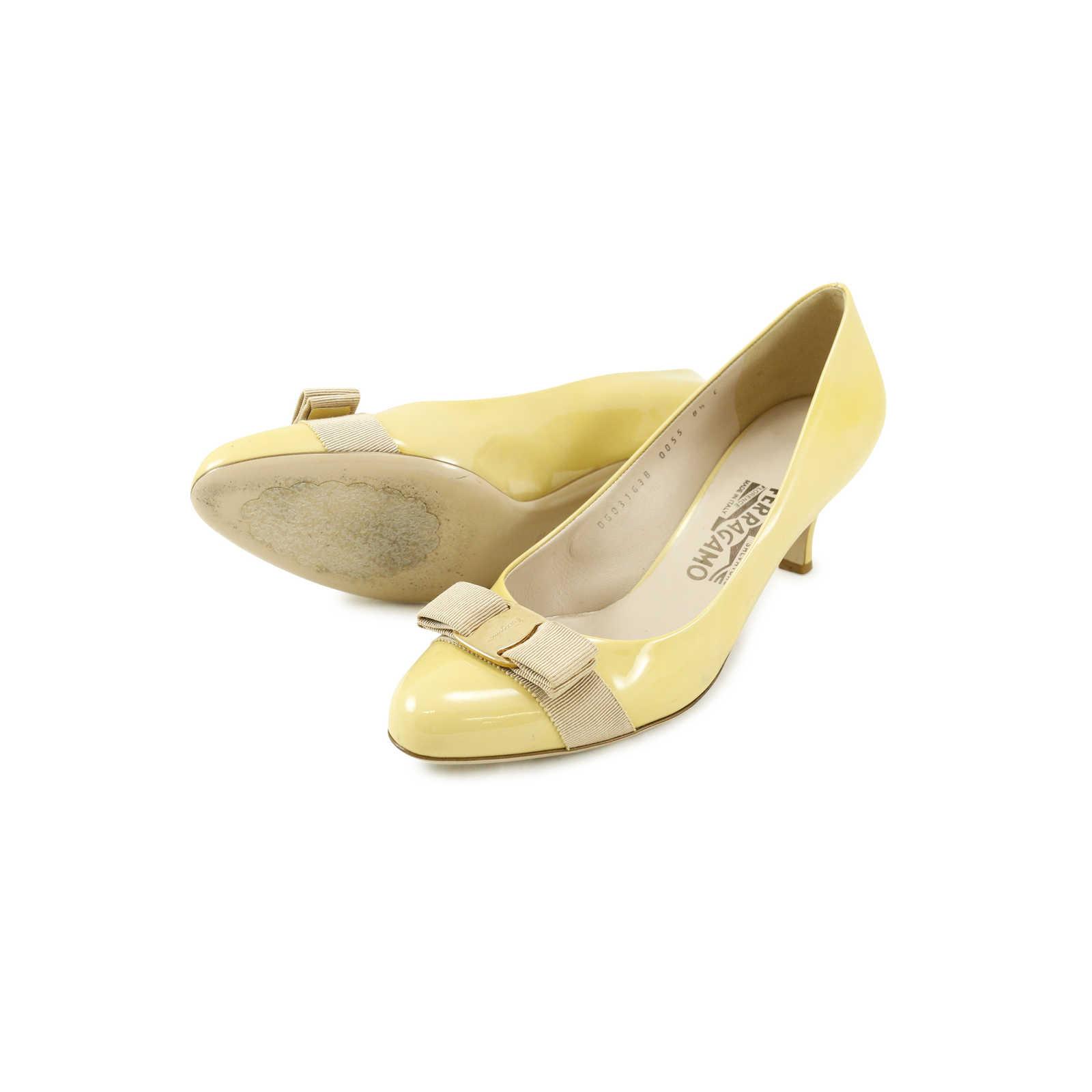 e4a827e93a ... Authentic Second Hand Salvatore Ferragamo Patent Pumps with Kitten Heel  (PSS-030-00003 ...