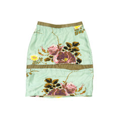 Embroidered Floral Silk Skirt