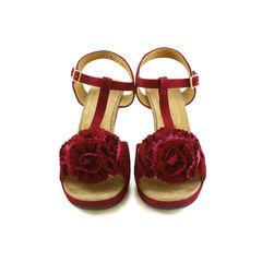 Floral Suede Sandals