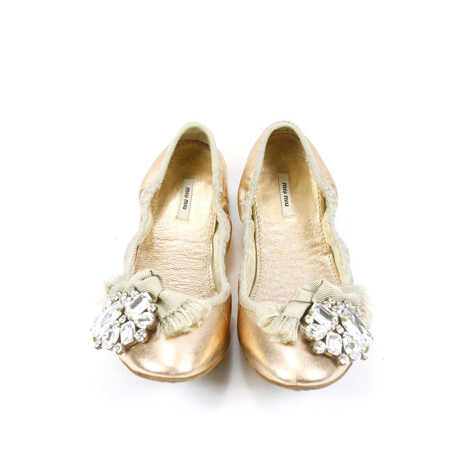 second hand miu miu bejewelled ballerina flats the fifth collection. Black Bedroom Furniture Sets. Home Design Ideas