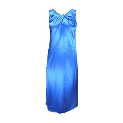 Authentic Second Hand Dries Van Noten Blue Silk Dress (PSS-043-00002)