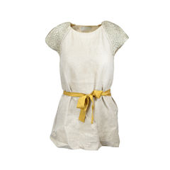 Linen Blouse with Gold Sleeves