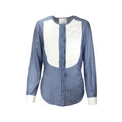 Cotton Silk Striped Blouse