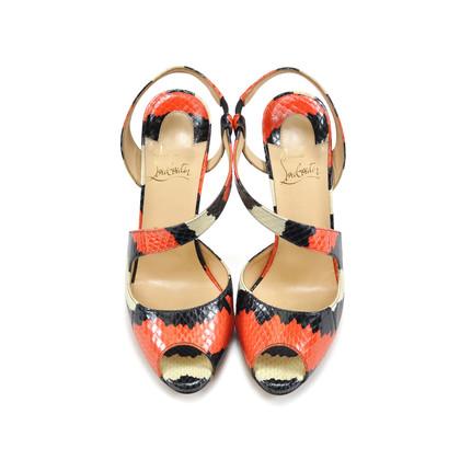 Authentic Second Hand Christian Louboutin Viveka Python Asymmetrical Heels (PSS-062-00002)