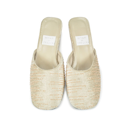 Authentic Second Hand Biyan Beaded Sequin Slip Ons (PSS-047-00034)