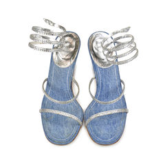 Denim and Rhinestone Sandals