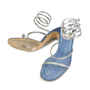 Authentic Second Hand René Caovilla Denim and Rhinestone Sandals (PSS-047-00043) - Thumbnail 2