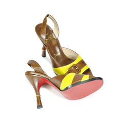 Christian louboutin lime sandals with buckle detail 2