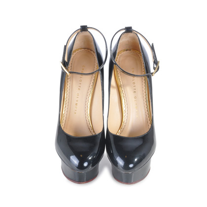 Authentic Second Hand Charlotte Olympia Patent Dolly Pumps (PSS-075-00001)