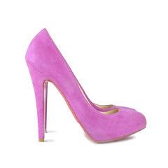 Christian louboutin suede purple heels 2