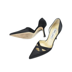 Jimmy choo black satin pointed heels 3