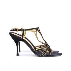 Prada black gold t stap heels 2