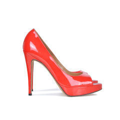 Brian atwood red patent peep toe pumps 2