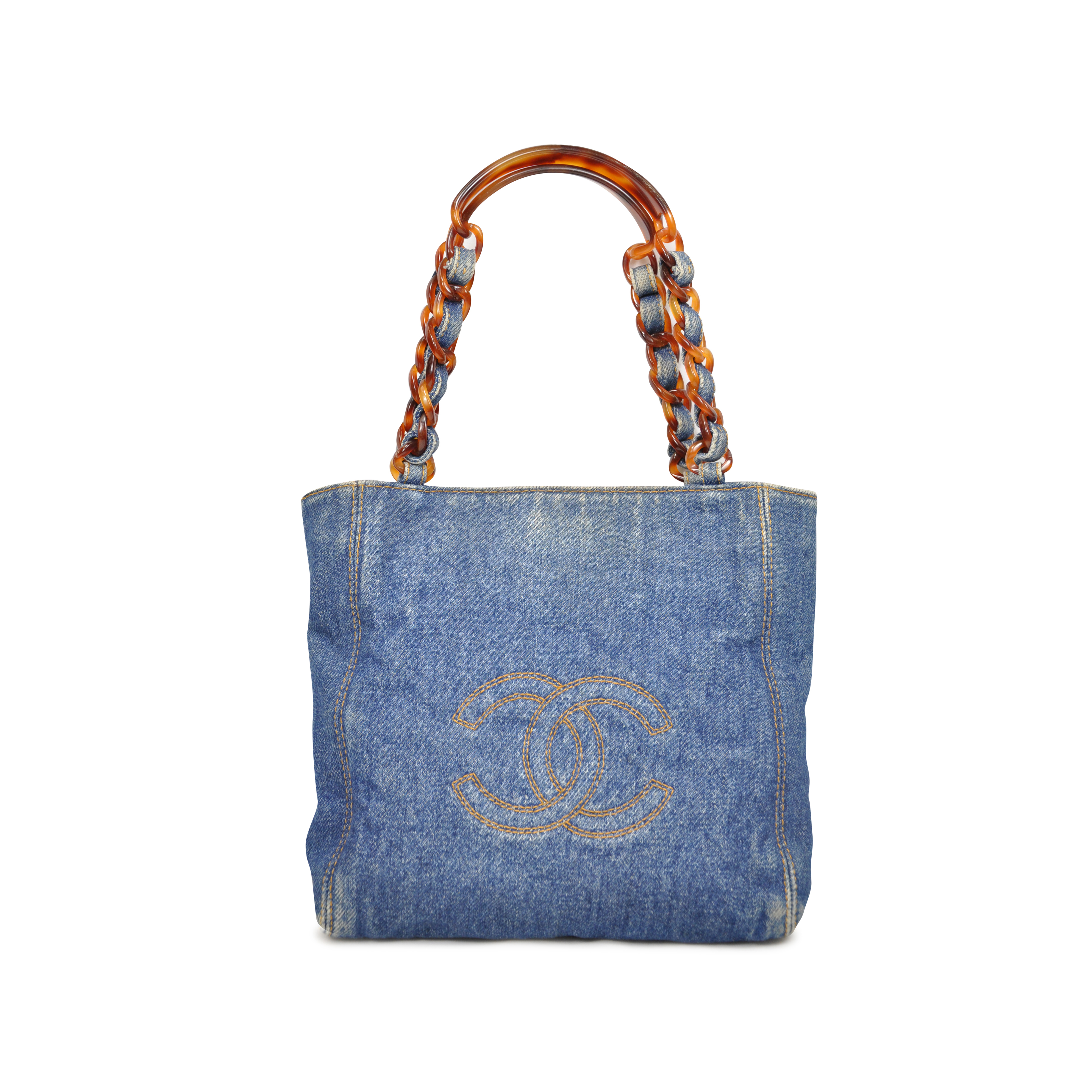 93321497408b Authentic Second Hand Chanel Denim and Tortoiseshell Handle Bag  (PSS-094-00009) | THE FIFTH COLLECTION