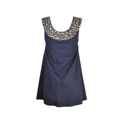 Alice olivia navy jewelled collar sleeveless tunic dress 2