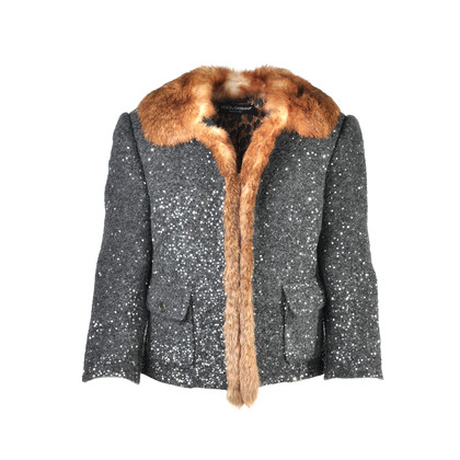 Dolce And Gabbana Fur Trimmed Sequinned Jacket