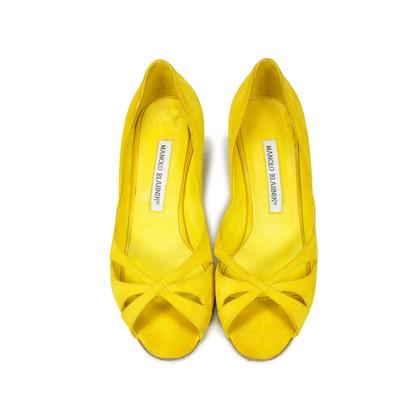 Authentic Second Hand Manolo Blahnik Suede Peep Toe Pumps (PSS-054-00070)