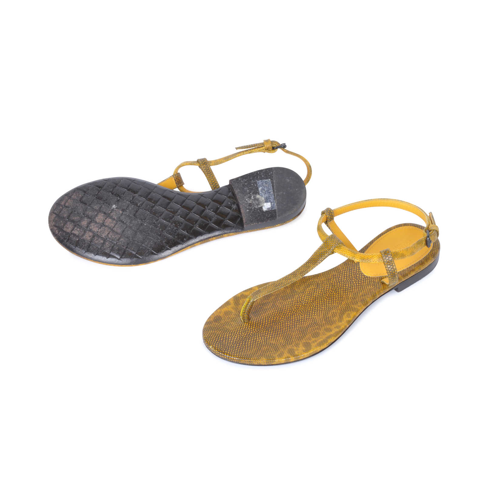 e131536323 ... Authentic Second Hand Bottega Veneta Lizard Thong Sandals (PSS-080-00061)  ...