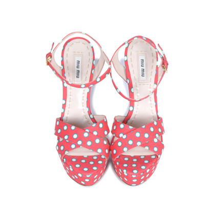 Authentic Second Hand Miu Miu Polka Dotted Sandals (PSS-075-00006)