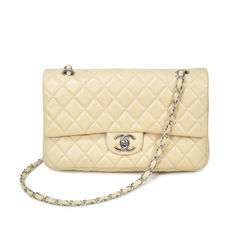 Beige Lambskin Double Flap Bag