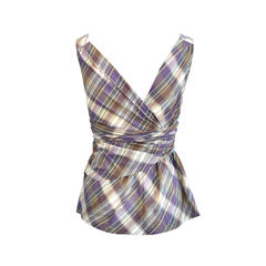 Comptoir des cotonniers plaid wrap blouse 2