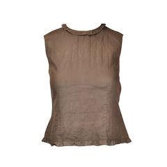 Brown sleeveless frill neckline