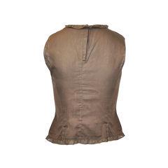 Miu miu brown sleeveless frill neckline 2