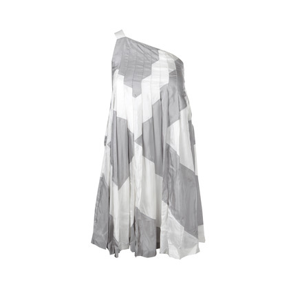 Authentic Second Hand CK Calvin Klein Grey and white toga dress  (PSS-047-00101)