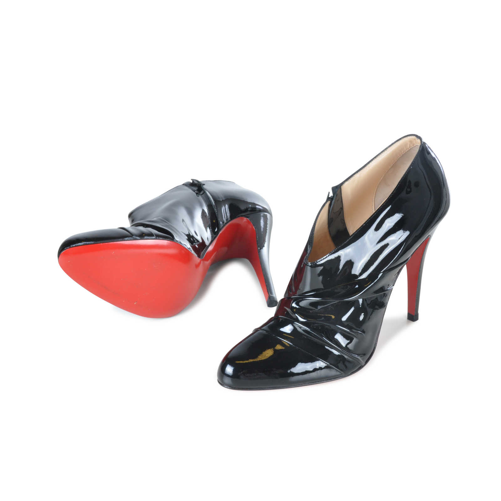 discount low cost clearance latest Christian Louboutin Patent Leather Ruched Booties buy cheap best wholesale VOGaJwYYW