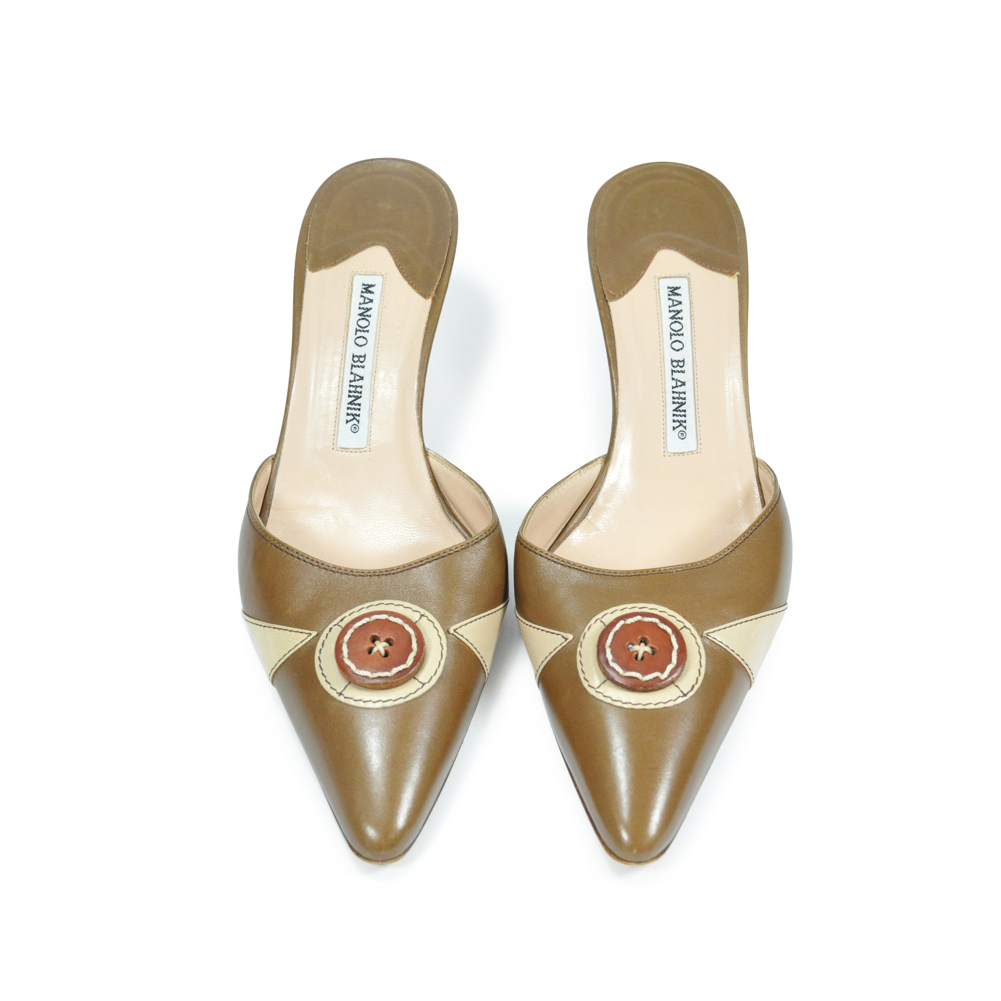 dc56fdcd3 Authentic Second Hand Manolo Blahnik Pointed Button Detail Kitten Mules  (PSS-067-00008) - THE FIFTH COLLECTION