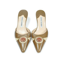Pointed Button Detail Kitten Mules