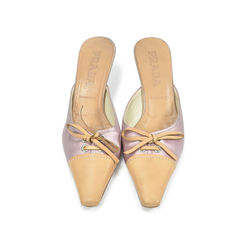 Satin Slip Ons With Ribbon Detail
