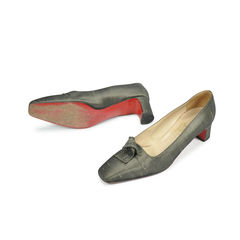 Christian louboutin silk taupe satin heels 2