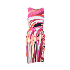 Printed Dress with Side Gather