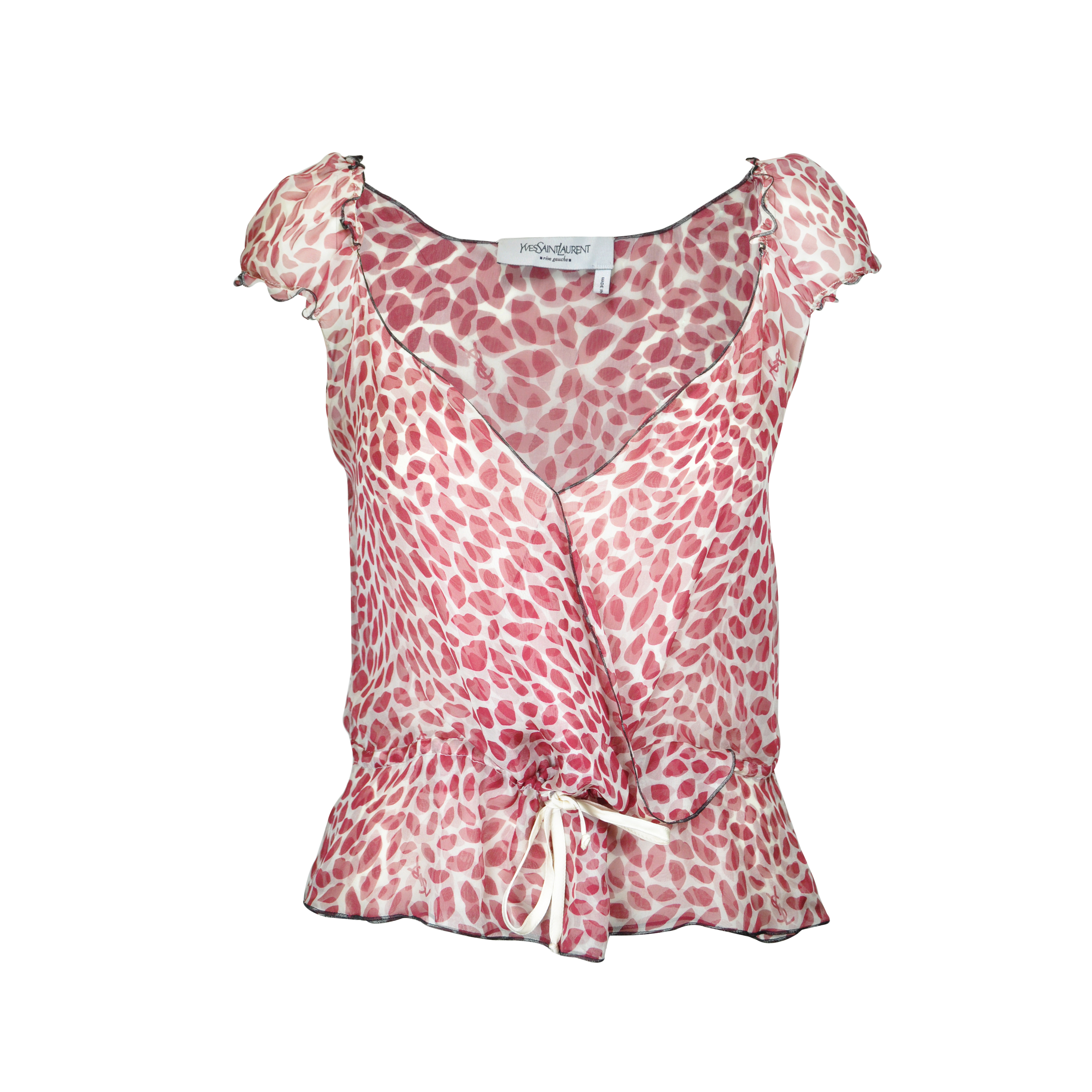 7d211296d74be7 Authentic Second Hand Yves Saint Laurent Heart and Lip Print Top  (PSS-067-00104)