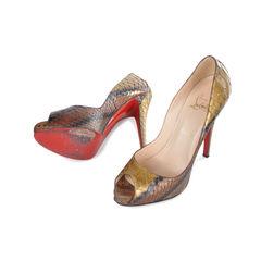 Christian louboutin snakeskin peep toe pumps 2