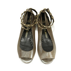 Gem Studded Ankle Wrap Peep Toe Flats