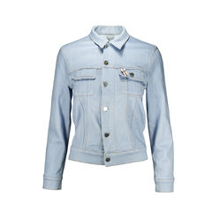 Denim Jacket with Ribbon Brooch