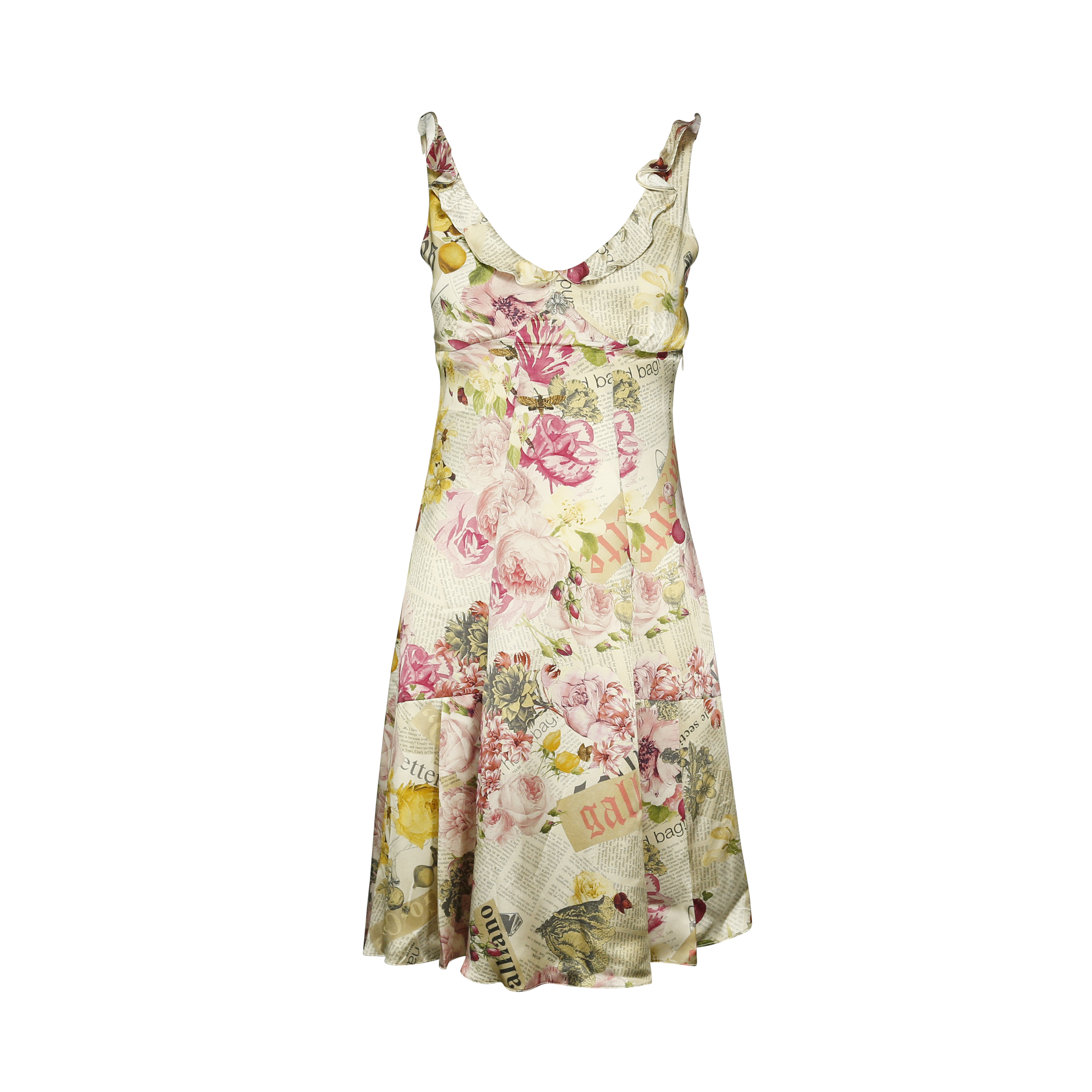 ab6a4bcb Authentic Second Hand John Galliano Newspaper Print Floral Dress  (PSS-175-00011) | THE FIFTH COLLECTION