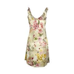 John galliano newspaper print floral dress 2