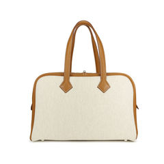Hermes toile and leather victoria bag 2