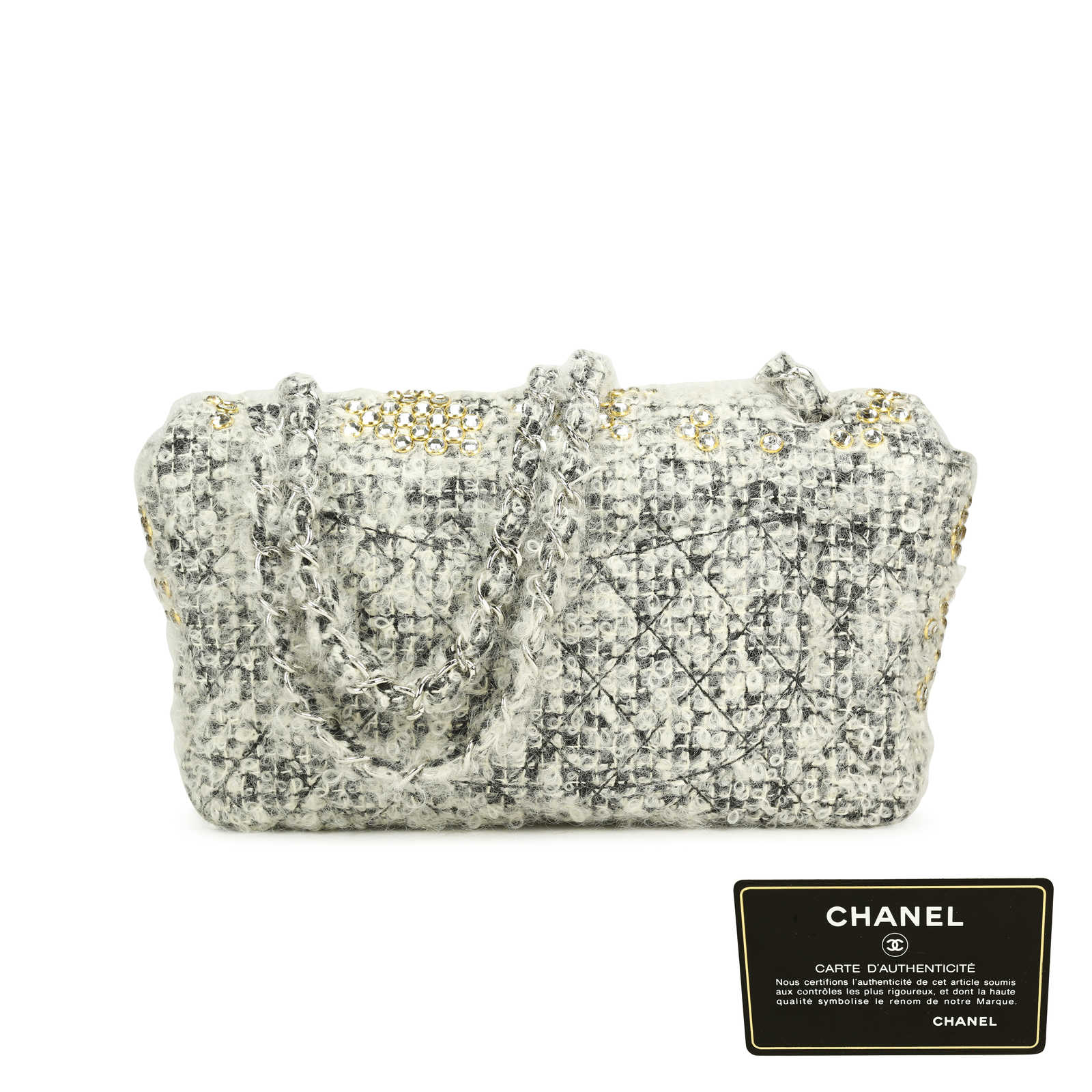... Authentic Second Hand Chanel Fantasy Tweed Wool   Swarovski Crystal  Classic Flap Bag (PSS- ... cd93466889592