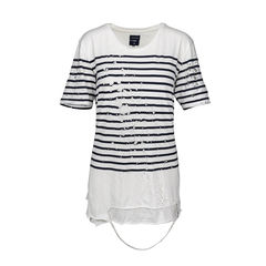 Striped Tattered T shirt