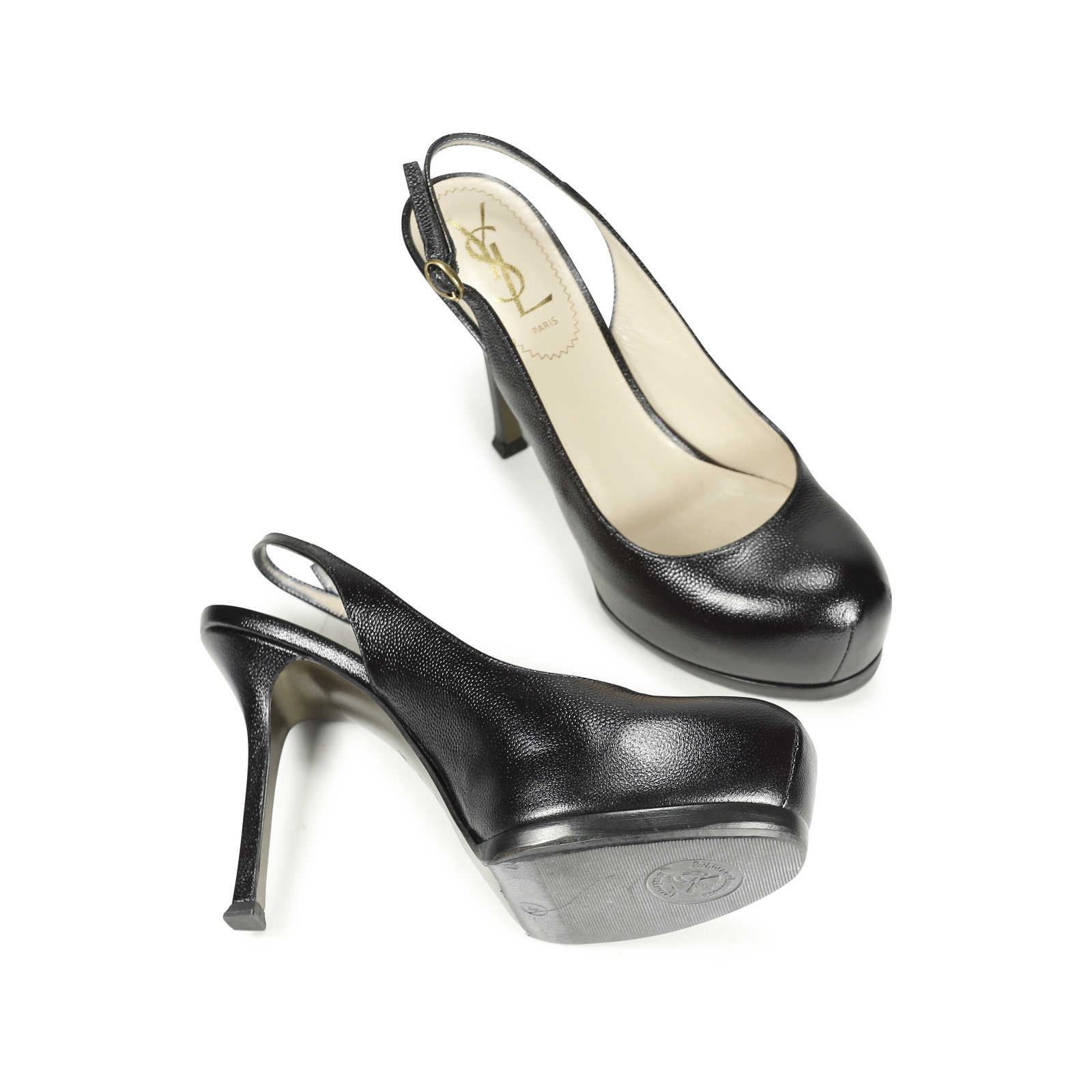 4f036c218b8 ... Authentic Second Hand Yves Saint Laurent Pebbled Leather Tribtoo Pumps  (PSS-183-00016 ...